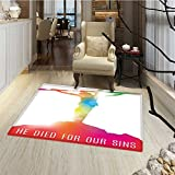 Quote Door Mats for inside Abstract on the Cross Scenery with Message of Inspiration Bible Catholic Faith Belief Bath Mat for tub Bathroom Mat 18''x30'' Multicolor