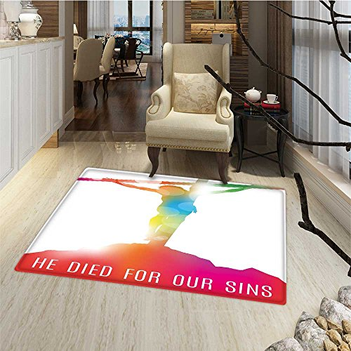 Quote Door Mats for inside Abstract on the Cross Scenery with Message of Inspiration Bible Catholic Faith Belief Bath Mat for tub Bathroom Mat 18''x30'' Multicolor by Anmaseven
