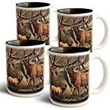 American Expedition Elk Collage Coffee Mugs (4 Set)