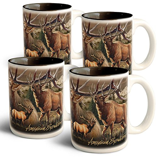 American Expedition Elk Collage Coffee Mugs (4 Set) by American Expedition
