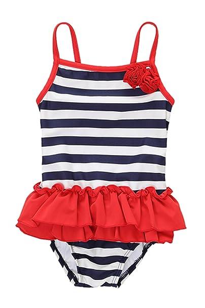 Amazon.com: Sociala Infant bebé niñas traje de baño de una ...