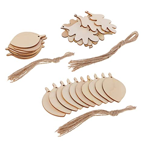 50X feather shaped natural wood slices rustic wooden pieces embellishment