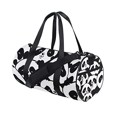 3ee81345c355 Amazon.com: OuLian Gym Bag Black and White Panda Head Women Canvas ...