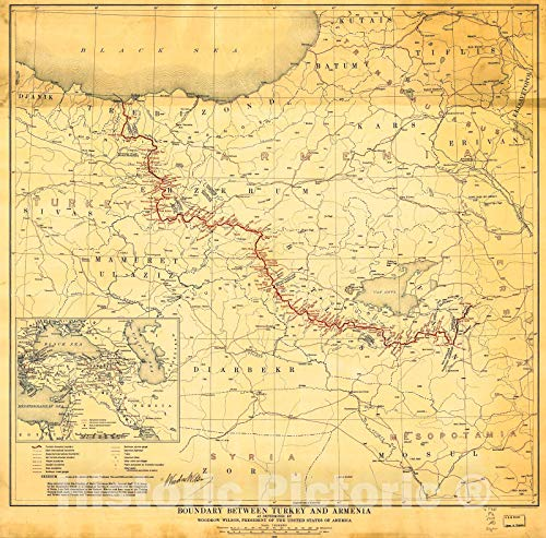 Historic 1920 Map | Boundary Between Turkey and Armenia : as Determined by Woodrow Wilson, President of The United States of America 44in x 44in