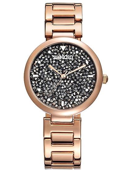 Alienwork Reloj Mujer Relojes Acero Inoxidable Oro Rosa Analógicos Cuarzo Plata Impermeable Purpurina Elegante Clásico: Amazon.es: Relojes