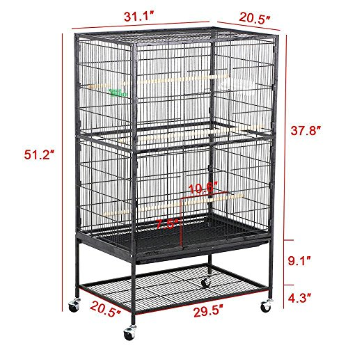 Go2buy Bird Parrot Cage 31.1 X 20.5 X 51.2'' Suitable For Cockatiel Conure Finch Parakeet Lovebi