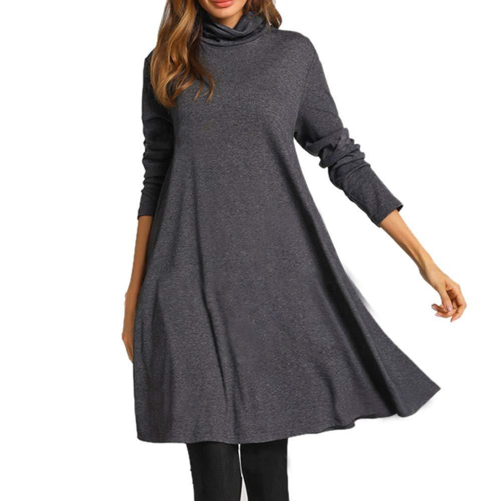 Abito lungo a maniche lunghe allentato a maniche lunghe per donna/O-collo Vestito/casuali abito/Invernali Vestito/Oversized Sweatshirt/lunga maglione Casual Autunno