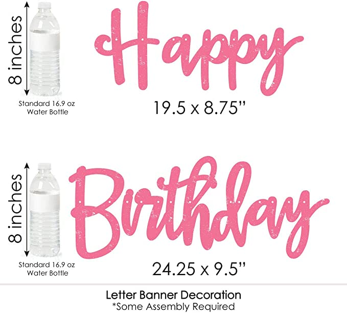 36 Banner Cutouts and Happy Birthday Banner Letters Pink Gone Hunting Deer Hunting Girl Camo Birthday Party Letter Banner Decoration
