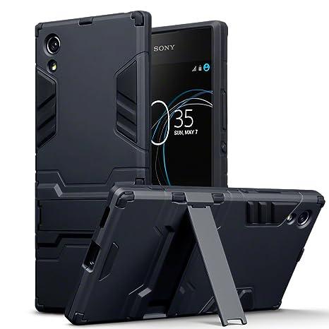 Sony Xperia XA1 Carcasa Híbrida de Silicona + Polycarbonato Doble Resistencia, y soporte para mesa - Negro oscuro