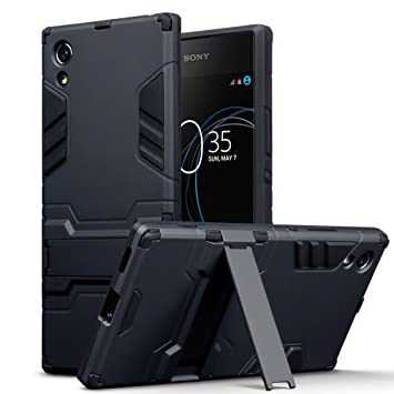 online retailer be8db b0bdd TERRAPIN, Compatible with Sony Xperia XA1 Case, Full Body Shock Resistant  Armour Cover with Kickstand - Black