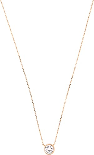 "14k Yellow White//Rose Gold Bezel Set Cubic Zirconia Solitaire Necklace 16/""-18/"""