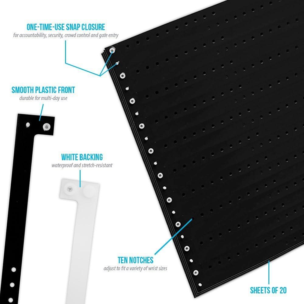 Wristco Plastic Wristbands 500 Ct. Black