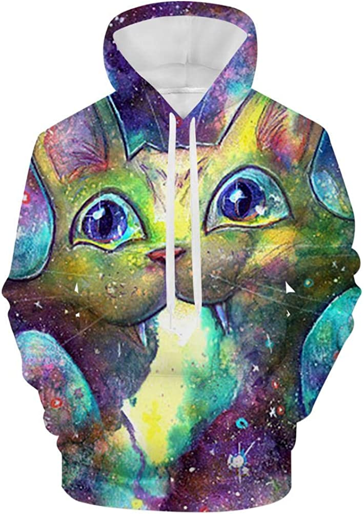 SpaceCat Stylish 3D-Printed Mens Pullover Hoodie Casual Hooded Long-Sleeved Sweatshirt with Pockets