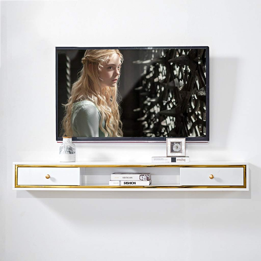 Floating shelf Modern Wall Mount Floating TV Stand TV Console Component Shelf Media Console Cable Boxes Games Consoles TV Stand Board Rack TV Cabinet Video Console Home Media Entertainment Storage She by SjYsXm-Floating shelf