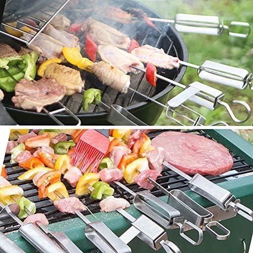 Sunfauo Brochettes pour Barbecue Pic a Brochette Brochettes pour Brochettes De Fruits BBQ Kebab Brochettes Brochettes en Acier Inoxydable 8pcs