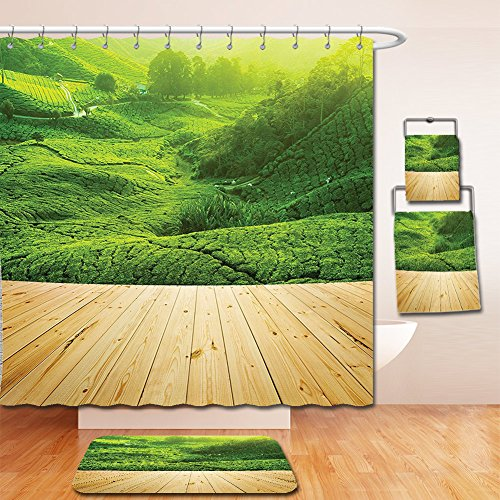 Cotton Highland Curtain Shower (Nalahome Bath Suit: Showercurtain Bathrug Bathtowel Handtowel Farm House Decor Collection Highlands Tea Plantations from Wood Balcony Perspective Sunrise in Eary Morning with Fog Green)