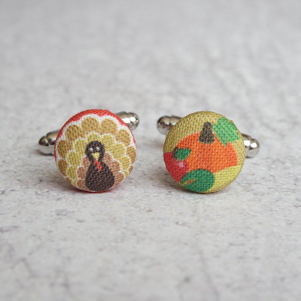 Thanksgiving Fabric Button Cufflinks