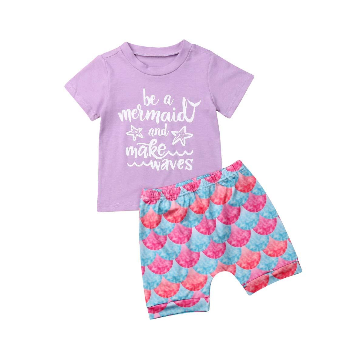 Loose Shorts Pants Summer 2Pcs Outfits Set Molibays Toddler Baby Girls Mermaid Short Sleeve Tops T-Shirt