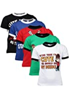 Goodway Boys Pack of 5 Attitude Theme Printed T-shirts(JB5PCKATT-1_MultiColor)