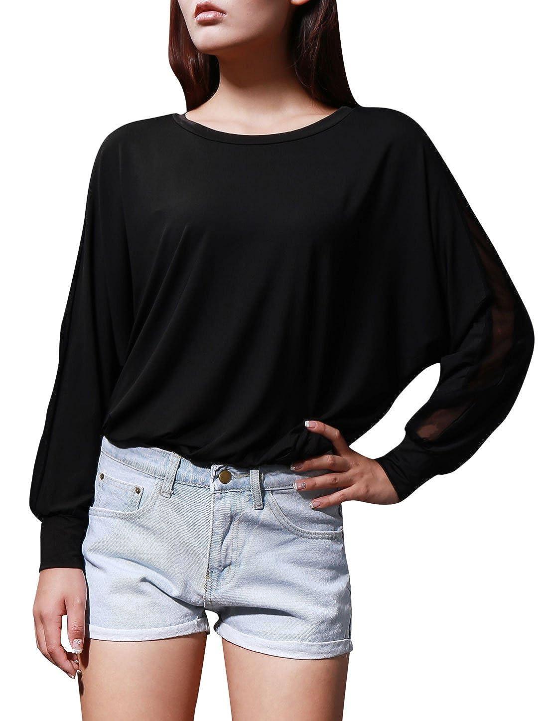 Allegra K Mujer Panel De Malla Chaqueta Camisas Manga Murciélago Top Holgado Blusas - sintético, Negro, 5% spandex 5% spandex\n 95% poliéster, niñas, ...