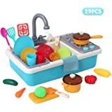Onshine Play Kitchen Sink Toys,Kids Electric Dishwasher Playing Toy with Running Water,Pretend Play Kitchen Toys for Boys Girls (Blue)