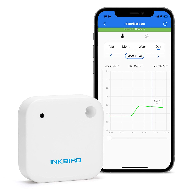 Inkbird IBS-TH2 Bluetooth Termómetro&Higrómetro Impermeable, Monitor de Temperatura y Humedad con Alarma, Almacenamiento de Datos, Gráfico Compatible con iOS&Android Ideal para Humidor y Bodeg