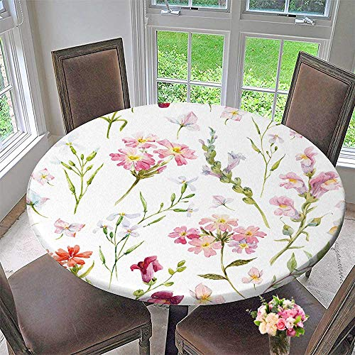 PINAFORE HOME Picnic Circle Table Cloths Delicate Flower Wallpaper Wildflowers Pink Retro for Family Dinners or Gatherings 50