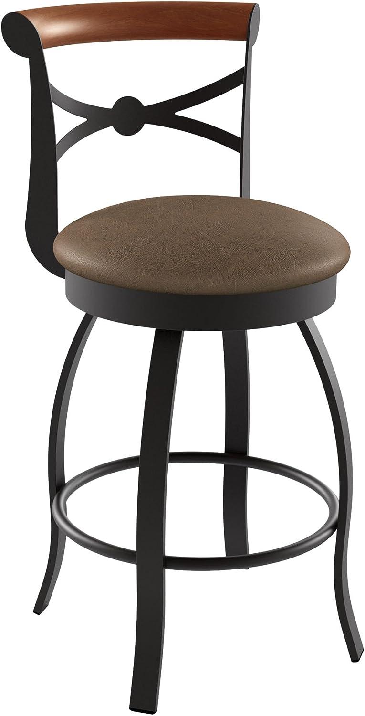 Amisco Bourbon Swivel Metal Counter Stool with Backrest, 26-Inch, Cobrizo Amazon Cognac