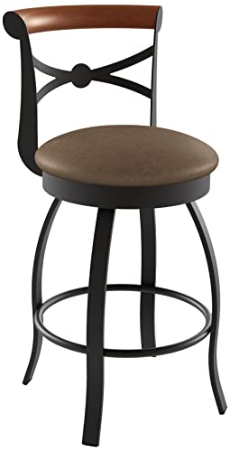 Amisco Bourbon Swivel Metal Counter Stool with Backrest, 26-Inch, Cobrizo Amazon Cognac