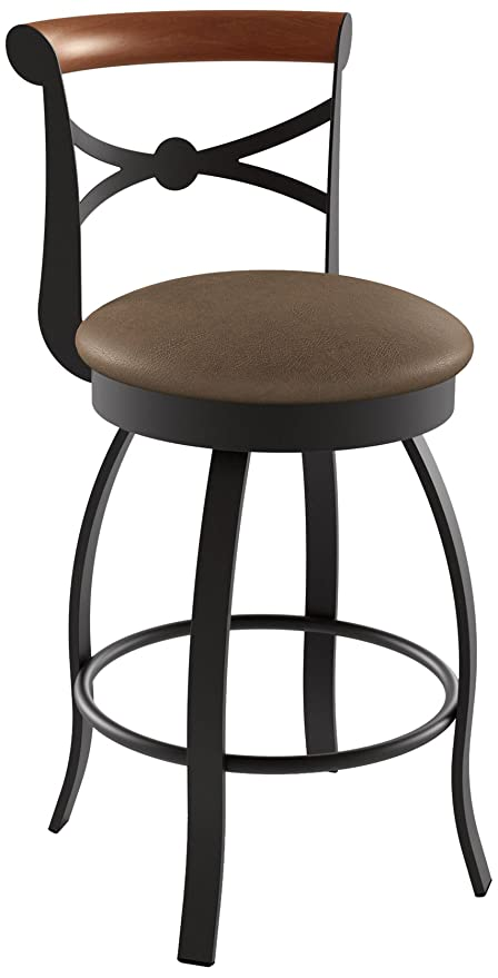 Amazoncom Amisco Bourbon Swivel Metal Counter Stool With Backrest