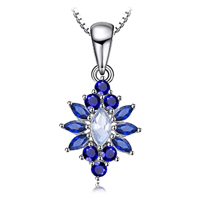 JewelryPalace Flower 0.3ct Created Sapphire Pendant Necklace 925 Sterling Silver 18 Inches XZbi4Jc45