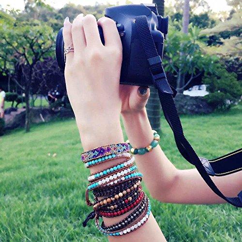 Hematite Beads Stone 3 Wrap Bracelets  For Women Men Best Friend Beaded Cuff Bangle Genuine Leather by changgaijewelry (Image #3)