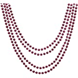 Metallic Burgundy Mardi Gras Beads, 4ct
