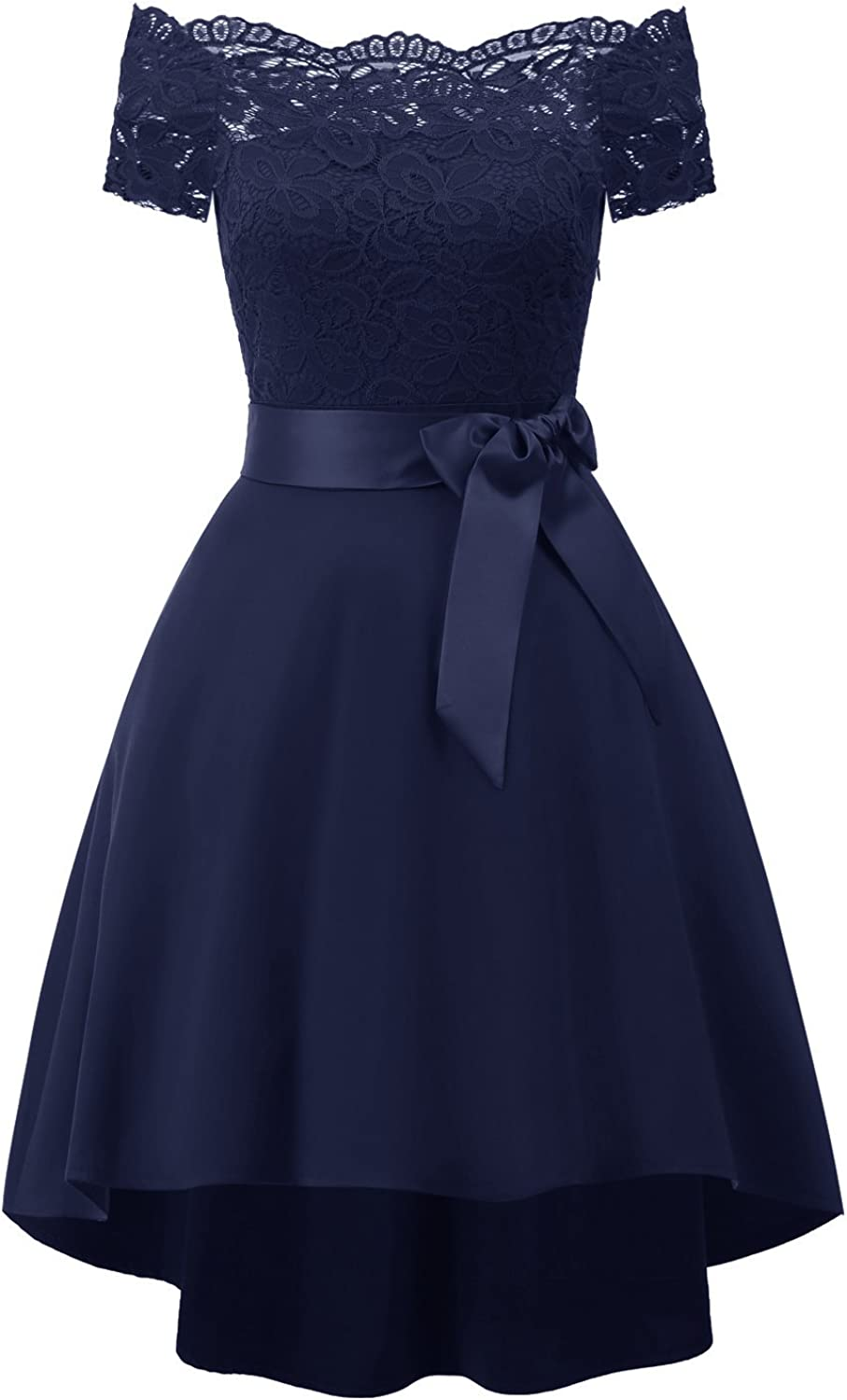 Chowsir Women Off Shoulder Lace Bridesmaid Cocktail Party Prom Midi Dress