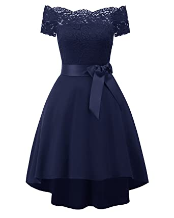 4a025924d36 Women s Lace Off Shoulder Hi-Lo Short Sleeve Formal Cocktail Dress ...