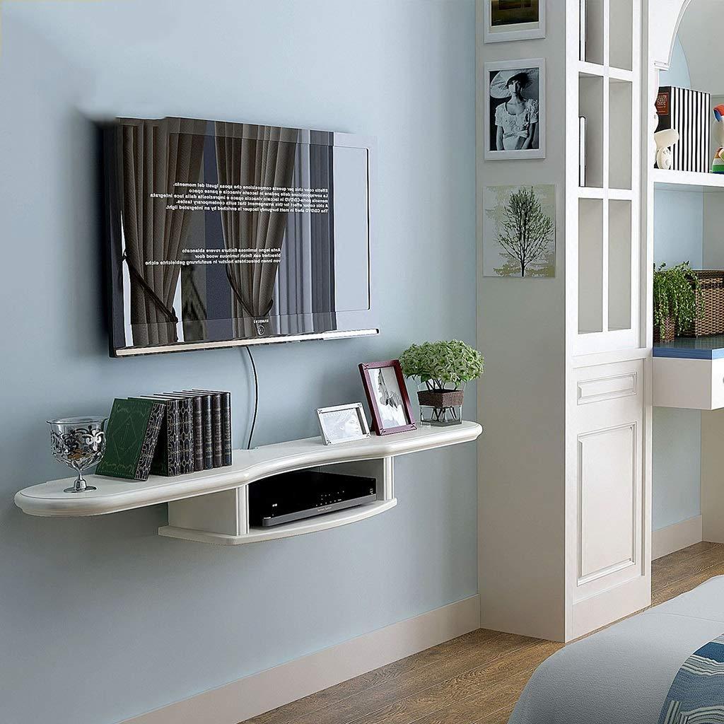 ホワイトテレビフローティング棚ウォールマウント棚テレビコンソールルーターラック収納ボックスセットトップボックス多機能ディスプレイ棚   B07RBZ3CWM