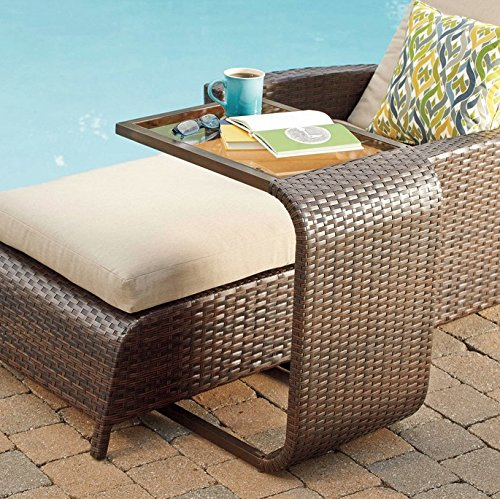 Amazon.com : Modern Wicker C Shaped Accent Table   All Weather Patio  Furniture   Side Table : Patio, Lawn U0026 Garden