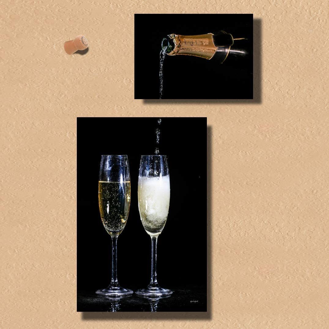 Quique Photography Wall Decor - Home Decor Set of Two Metal Print Pictures Wall Art for Dining Room Kitchen Decor or Bar Decor (Champagne, 18 x 10