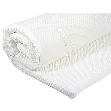 Cubrecolchón viscoelástico, cubrecolchón ortopédico con memory foam, protector de colchón I Cubrecama transpirable con aloe vera - 200 x 90 x 4 cm: ...