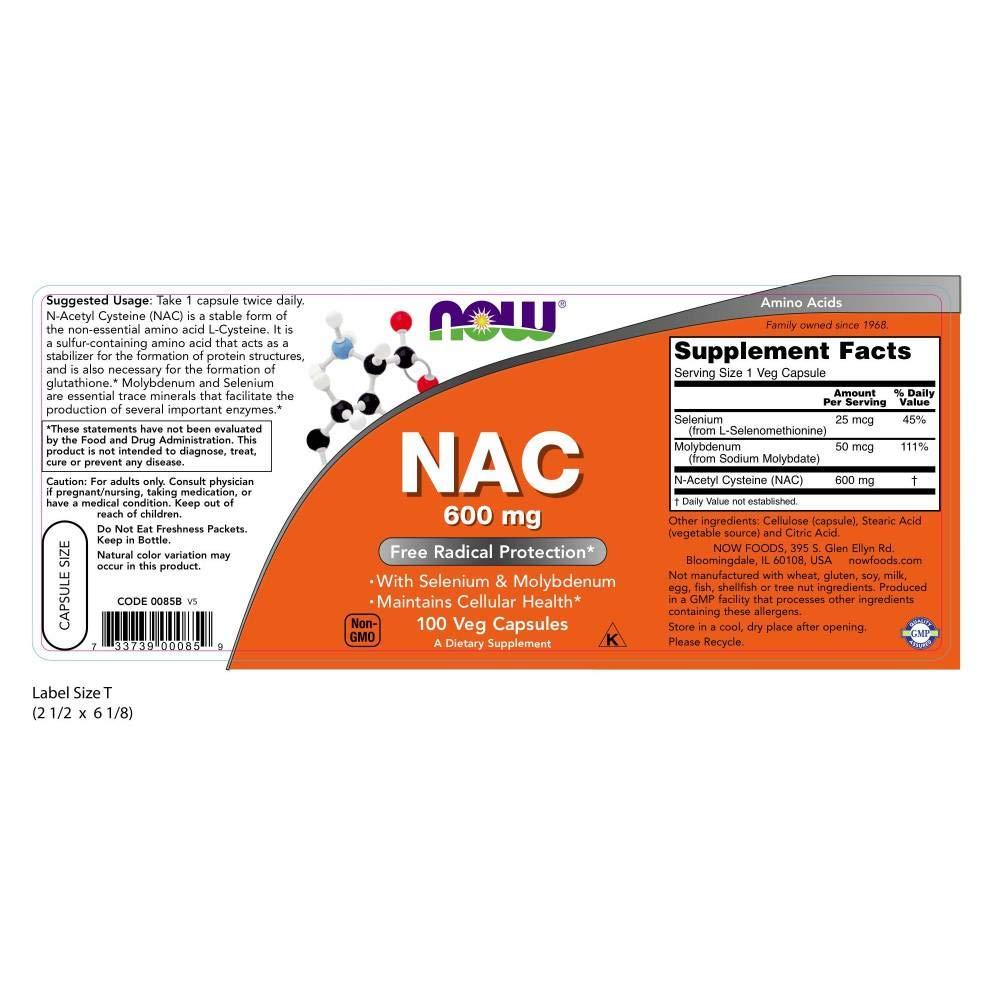 Now Foods | NAC | 600 mg | 100 cápsulas vegetarianas | sin gluten y soja: Amazon.es: Salud y cuidado personal