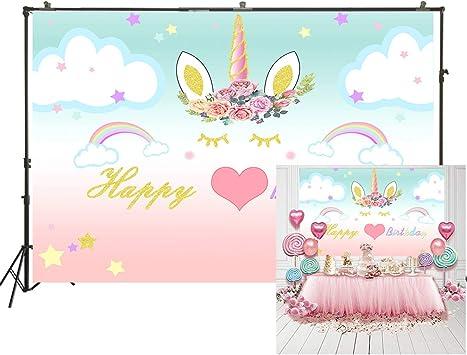 DLERGT 7x5ft Photography Unicorn Birthday Party Photo Backdrop Sweet Pink Girls Baby Shower Decor Background Newborn Child Pastel Color Photo Portrait Stduio Background Dessert Table 1-0013