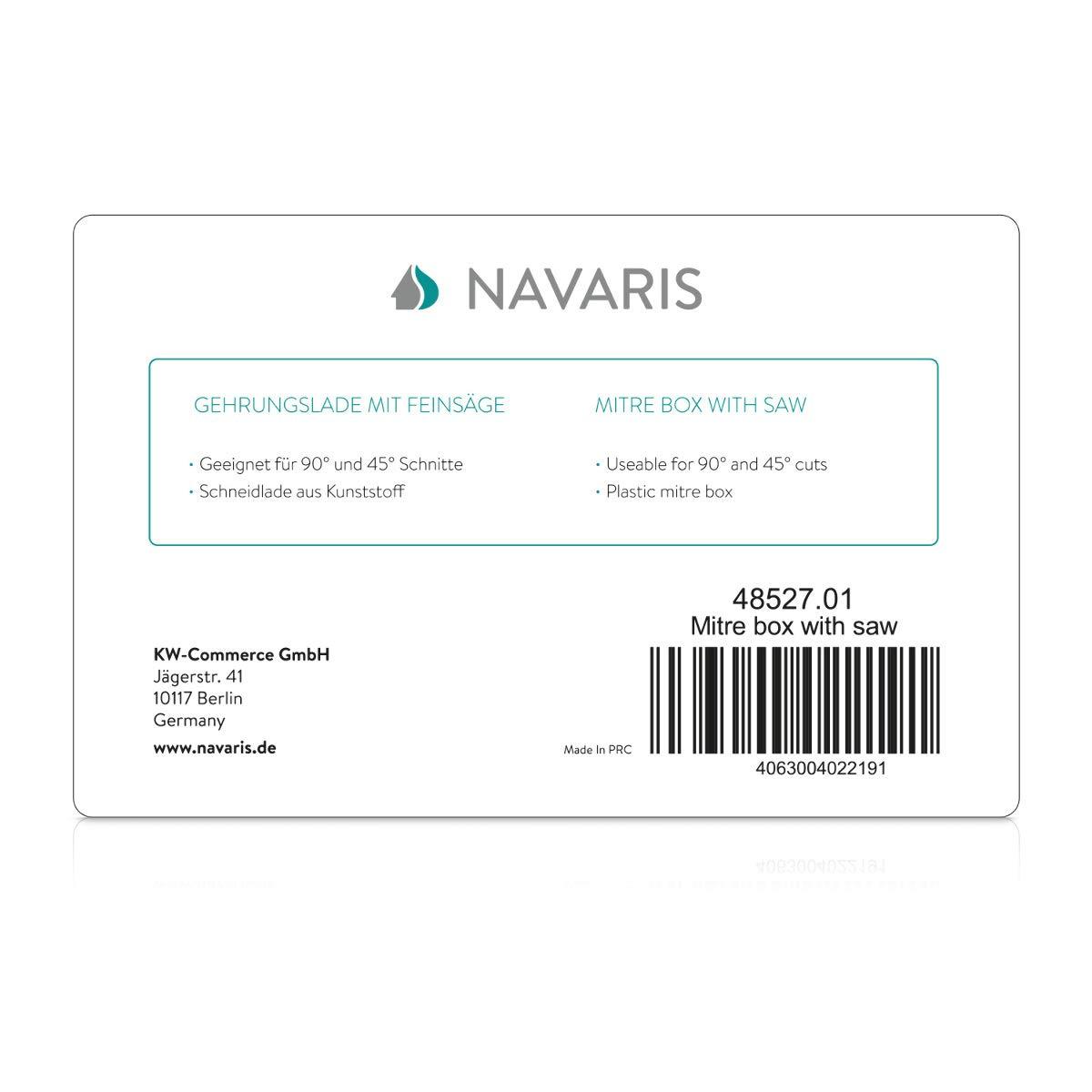 Navaris Bo/îte /à onglets Bo/îte /à onglets 28 x 12,5 cm avec scie en acier incluse Outil bricolage menuiserie mod/élisme petits travaux