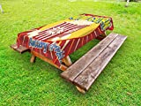 Ambesonne Retro Outdoor Tablecloth, Vintage Grunge Pop Corn Commercial Print Old Fashioned Cinema Movie Film Snack Artsy, Decorative Washable Picnic Table Cloth, 58 X 120 Inches, Multicolor