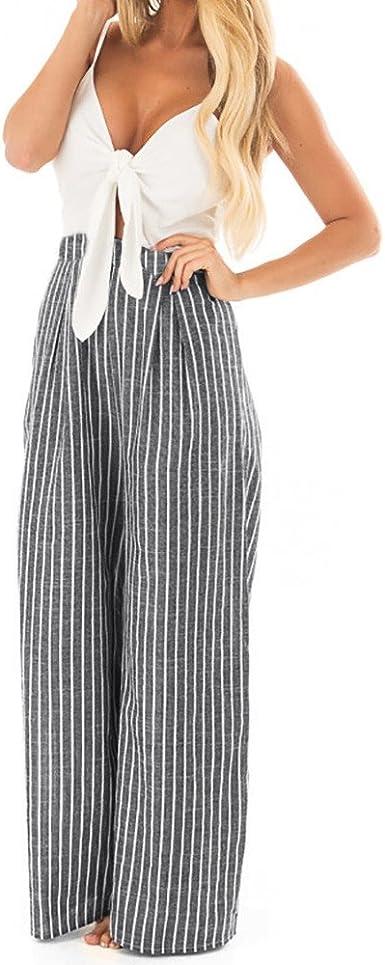 Amazon Com Corriee Jumpsuit Para Mujer Elegante Para Fiesta Sin Mangas Con Estampado A Rayas Pantalones Largos Moderno Equipada Xl Clothing