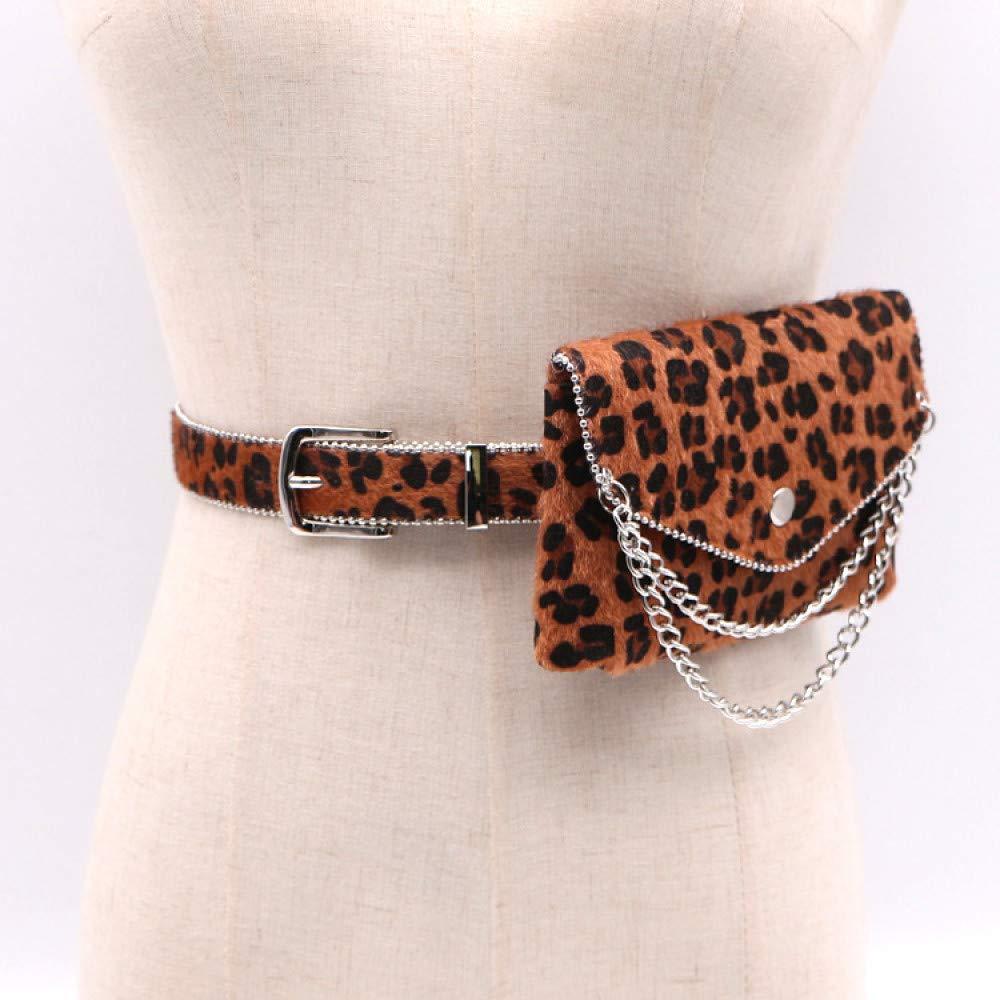 Damen Gürteltasche Umhängetasche Leopard Pferdehaar Kette dekorative Perlen Perlen Perlen Seitentaschen weibliche abnehmbare Gürtel ändern Handytasche, schwarz B07QB12X1X Wanderruckscke Neuer Markt 1a9eb6