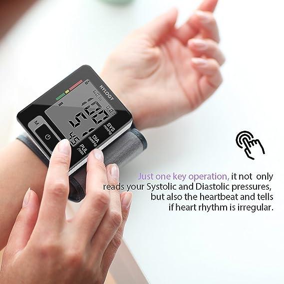 hylogy - Tensiómetro electrónico de muñeca de alta precisión, 2 * 90 grupos de memoria, capable para 2 usuarios, visible sobre la systole, la Diástole y el ...