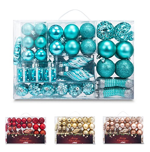 AMS 72ct Christmas Ball Assorted Pendant Shatterproof Ball Ornament Set Seasonal Decorations with Reusable Hand-Help Gift Boxes Ideal for Xmas, Holiday and Party (72ct, Turquoise)