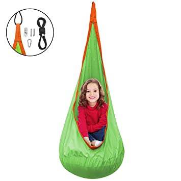 Sorbus Kids Pod Swing Chair Nook   Hanging Seat Hammock Nest For Indoor And  Outdoor Use