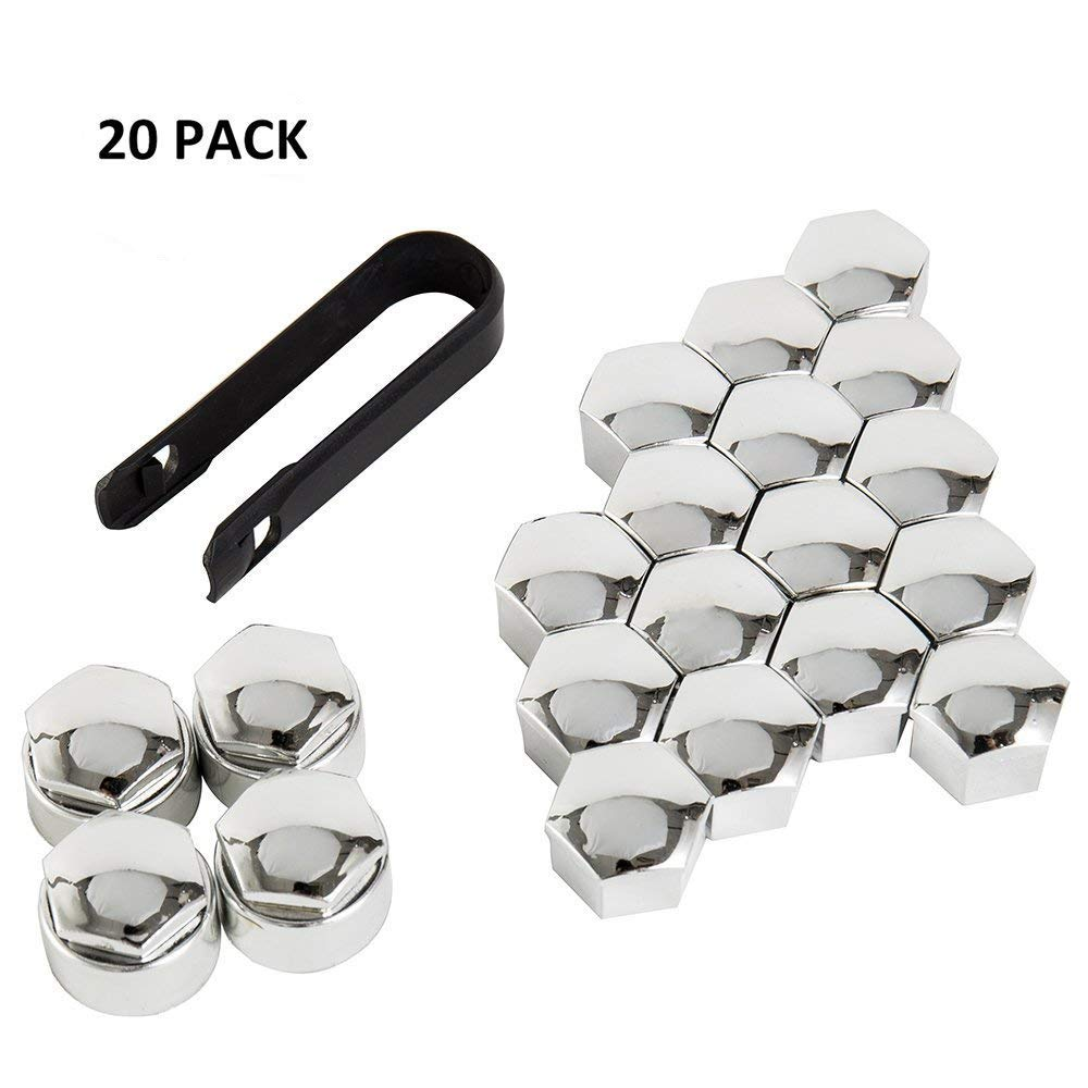 Littleduckling 20pcs 17mm Universal Wheel Bolt Nut Hex Tyre Cap Covers Silver 16 Standard Ones + 4 Locking Ones Removal Tool