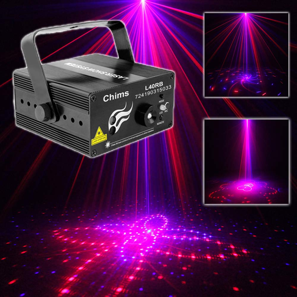 Stage Laser DJ Lights 3 Lens Red Blue 40 Patterns Light Projector Bright Blue LED Stage DJ Party Music Xmas Show Lamp Sound Active Remote Control Chims Z-40RB